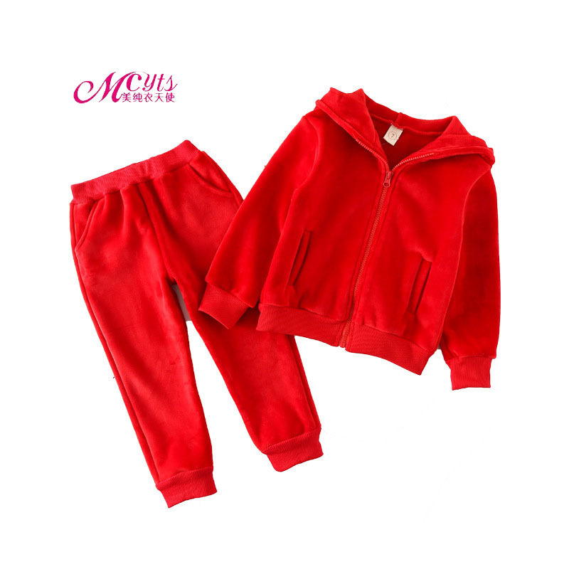 Velvet Baby Girls Clothing Sets Kids Tracksuits Hooded Sport Suit Autumn Winter Children Clothes Casual Set 2 3 4 5 6 7 Years