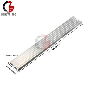 Silver-White Heat Sink LED 150x20x6mm Heat Sink Aluminum Cooling Fin