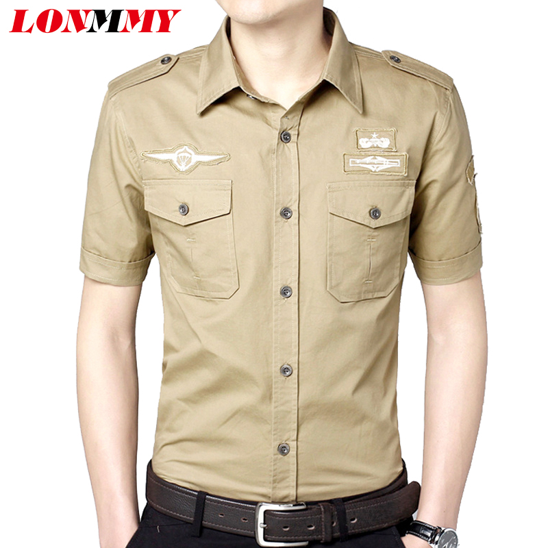 1121b369412d1 LONMMY M-5XL رجل اللباس قمصان قصيرة الأكمام قميص مقلم الرجال قمصان الرجال  الملابس سليم صالح القطن 2018 الصيف العسكرية الجيش