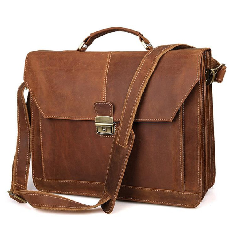 Genuine Leather Vintage Briefcases Bag Men Messenger Bags Fashion Shoulder Bags Large Handbags Men Tote Laptop Briefcases Bag genuine leather bag men messenger bags casual multifunction shoulder bags travel handbags men tote laptop briefcases men bag