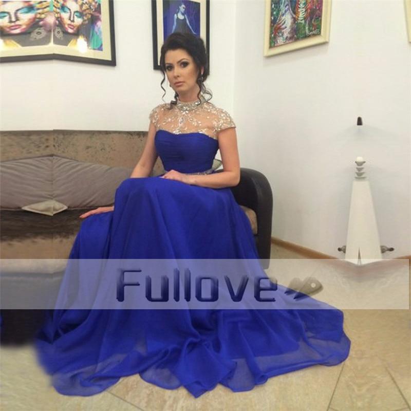 Dazzlingly Crystal Beaded Royal Blue   Evening     Dresses   Long 2019 Short Sleeve High Neck Sheer A-Line Formal   Dress   Vestido De Festa