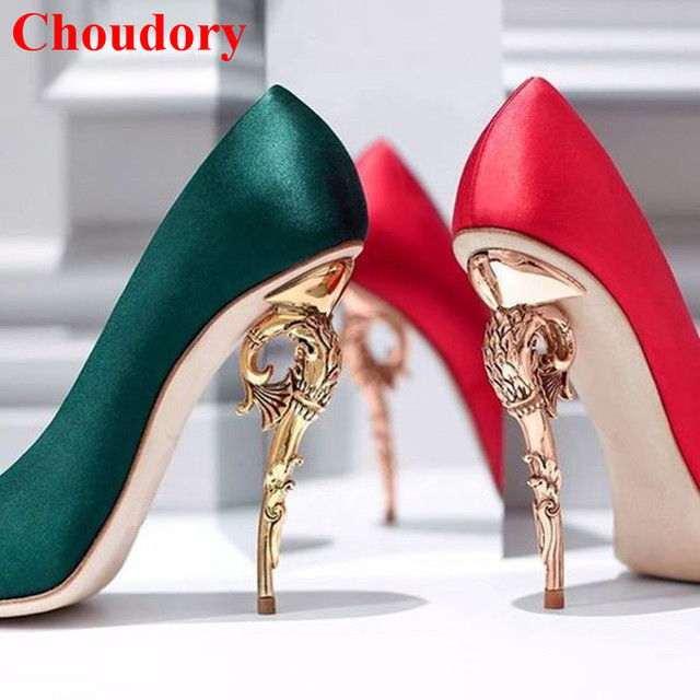 607e37b2f8a US $79.0 30% OFF|Red/Green Island Heel Baroque Pumps Curve Ornate  Spiralling Woman Fashion Runway Metal Stilettos Pointed Toe Women Dress  Shoes-in ...