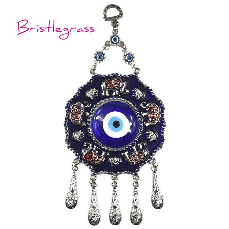 BRISTLEGRASS Turkish Blue Evil Eye Disk Elephant Amulet