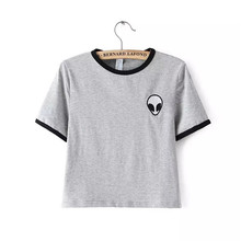 New Fashion Alien Embroidery Short Style Women T Shirts O-Neck Short Sleeve Tees Tops