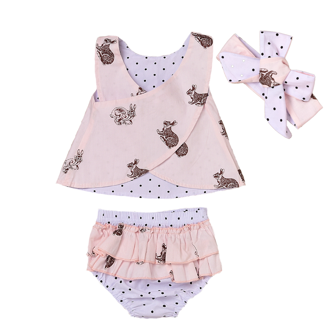 3PCS Toddler Baby Kids Girl Clothing Tops Summer Top Bunny Sleeveless Shorts Bottoms Headband Outfit Clothes Set Baby Girls princess toddler kids baby girl clothes sets sequins tops vest tutu skirts cute ball headband 3pcs outfits set girls clothing
