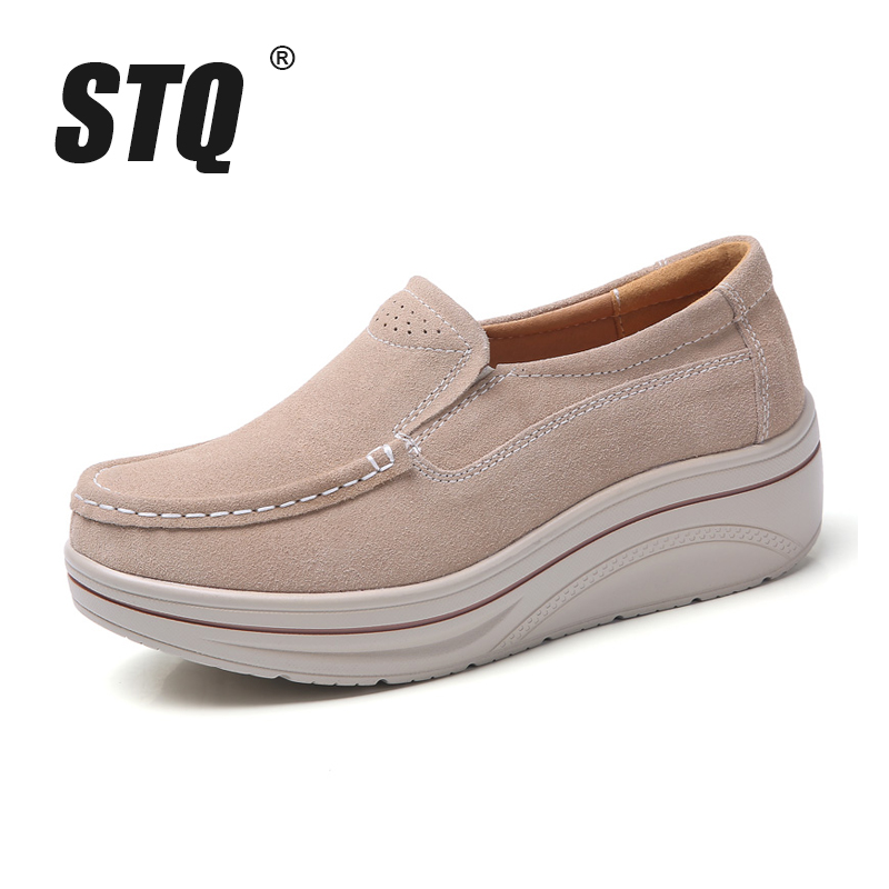 30512b92440c Γυναικεία παπούτσια STQ 2019 spring women slip on flats shoes ladies  platform sneakers shoes leather suede casual creepers moccasins shoes 8338