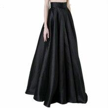 Женская длинная Плиссированная юбка большого размера черная элегантная длина паркета плюс размер 5XL 4XL Женская модная осенне-зимняя юбка