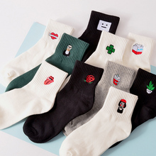 Fashion 1Pair Cotton Cartoon Embroidery Harajuku Socks for Women Men Unisex Casual Solid color Japanese