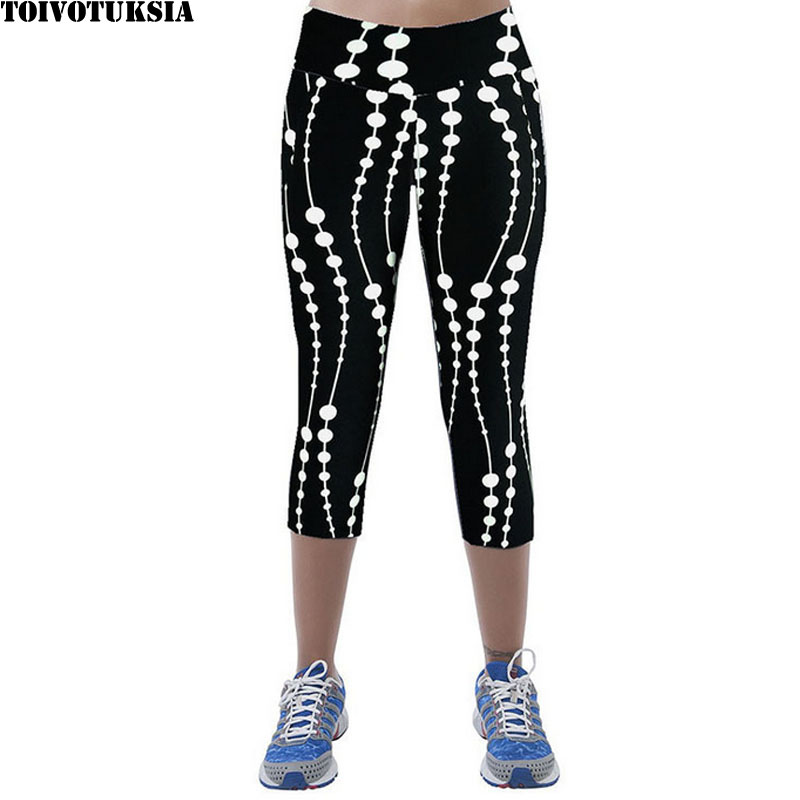 TOIVOTUKSIA Black Pants Mid-Calf-Legging Capris Print Summer-Style Female And Thin Soft