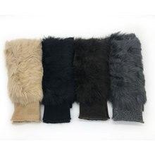 Шерстяные перчатки, зимние новые женские перчатки, уплотненные кроличьи меховые варежки, оригинальные вязаные перчатки без пальцев для студентов