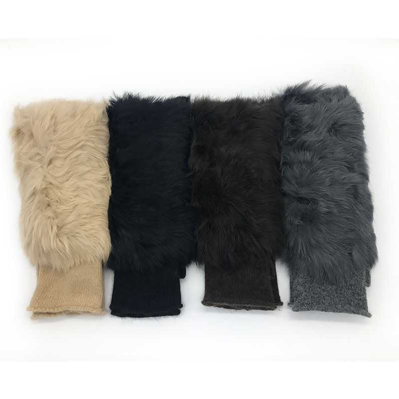 Wool Gloves 2020 Winter New Women Gloves Thickening Rabbit Fur Mittens Personality Fingerless Students Writing Knitted Gloves