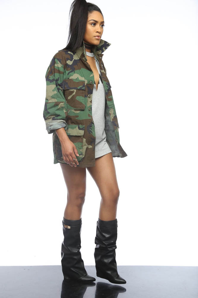 Image 3 - Women Military Camouflage Jacket Hot Green Fatigues Long Coat  Loose Casual Daily Army Battle Jungle Garment ME Q045Jackets   -