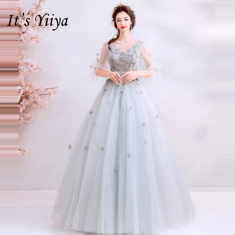 It's YiiYa Prom Gowns V-neck Half Sleeves Beading Ball Gown Floor Length Long Party Dress Custom Plus Size Prom Dress 2019 E258