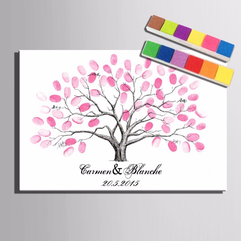 Wedding Tree Guestbook Fingerprint Painting Signature ...