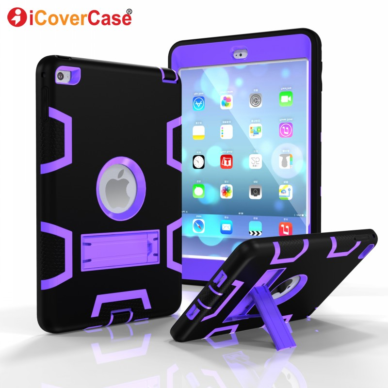 Protector Cases For Apple iPad Mini 4 Mini4 Cover Soft Hard Skin Case Stand Front Back Protect Shell Tablets Pad Accessories ...