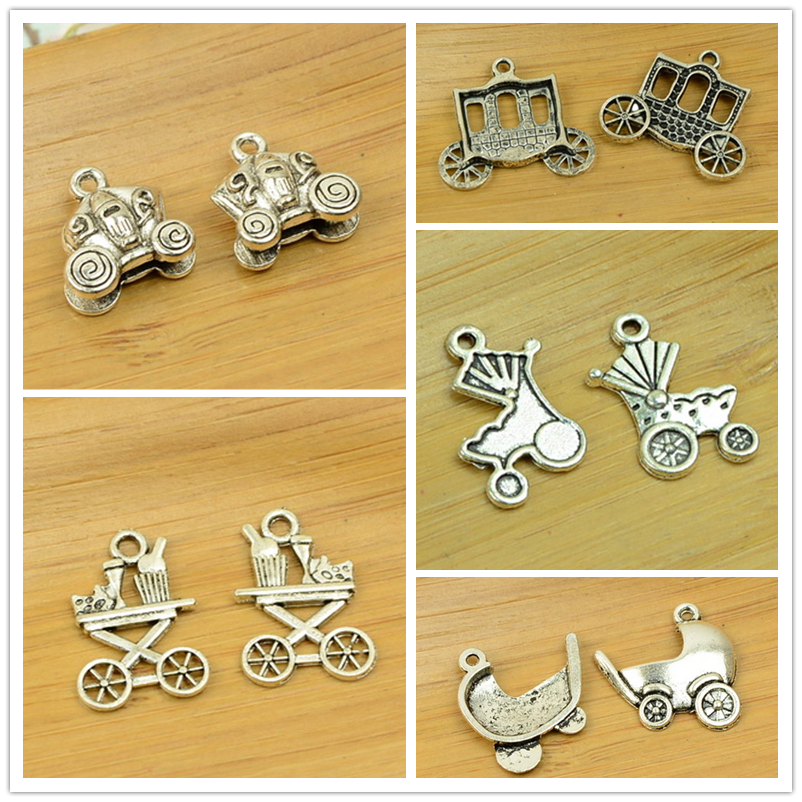 DIY alloy charm pendant pram/baby carriage/handcart/dolly/coach shape antique silver vintage beads jewelry accessories findings