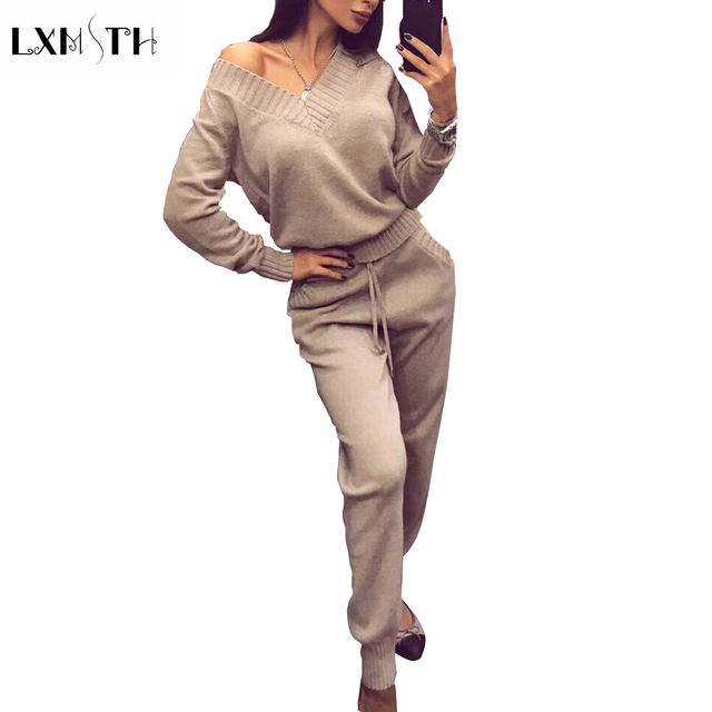 Lxmsth 2018 New Fashion Women Knitted Sweater Pants Set Spring