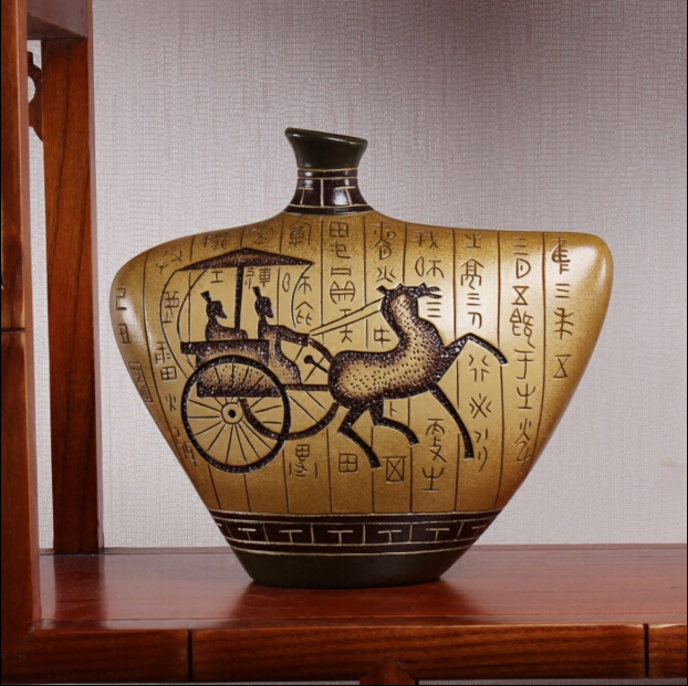 China pure manual sculpture and hand painted ceramic vase, double sided appreciate/home decoration bottles