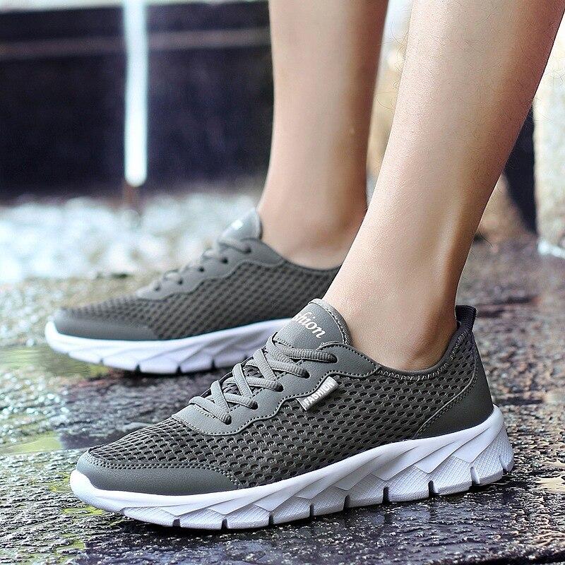 Sapatos novos esportes dos homens malha respirável desgaste casais tênis tamanho grande lazer 35 48