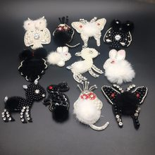 Handmade Rhinestone beaded & Crystal Fur Patches, animal butterfly,owl,rabbit,sheep,Sew on pearl patch for clothes Applique(China)