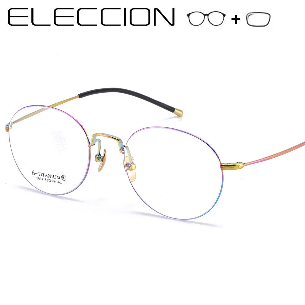 Women's Prescription Glasses Optical Eyeglass Frame 2019 New Vintage Pure Titanium Rim Round Eyeglasses Diopter Eyewear Men(China)