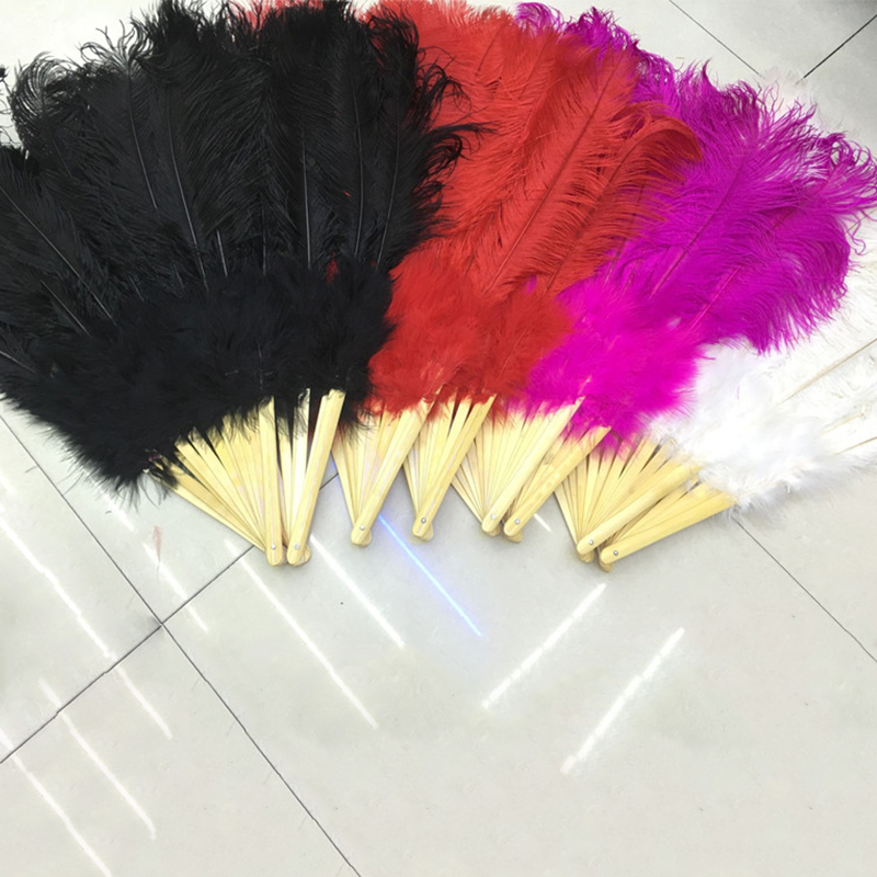 1 PC Big Ostrich Feathers Fan With Bamboo Ribs for Belly Dance Halloween Party Ornament Decor Necessary 10/11/12/13/14 Ribs Fan