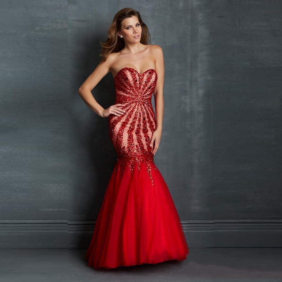 Popular Red Mermaid Gown-Buy Cheap Red Mermaid Gown lots from ...