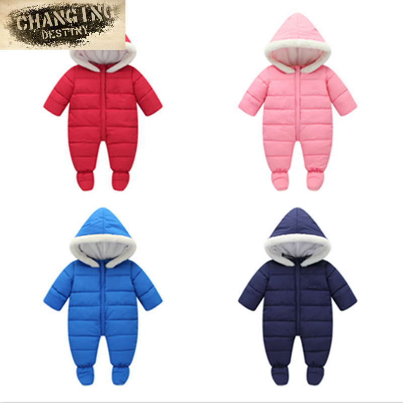 0-2 Years Old Winter New Infants Young Children Jumpsuit Thicker Velvet Pack Package Foot Climb Clothes Boys Girls Down Jacket ...
