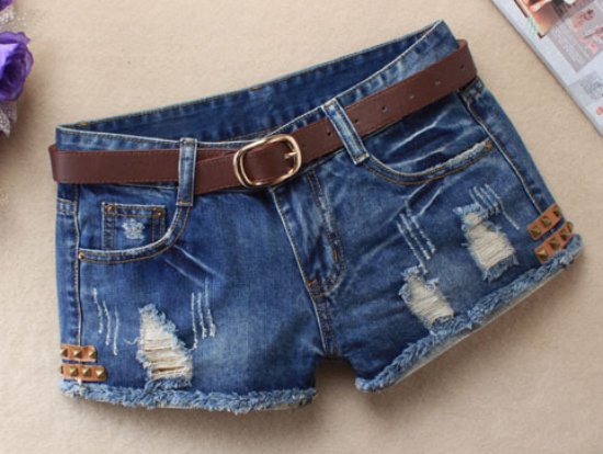 Hot 2016 Summer Shorts Women Vintage Jeans Denim Shorts Sexy Hip Hop Rivet Patch Plus Size Ripped Shorts Without Belt