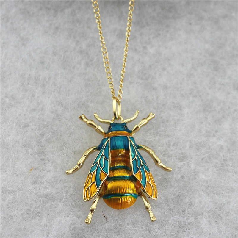 Personalità goccia di olio giallo ape verde gli uomini e le donne insetto della catena del maglione della collana del pendente Squisito fabbrica direttamente