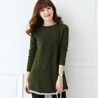 Autumn Winter Long Cashmere Sweater Women O Neck Jumper 2017 New Warm Pattern Knitwear Loose Thick