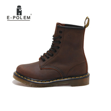 цена на 2017 New England Style Genuine Leather Men Retro Martin Boots High Quality Unisex Red Brown Lace-Up Casual High Help Flats Boots