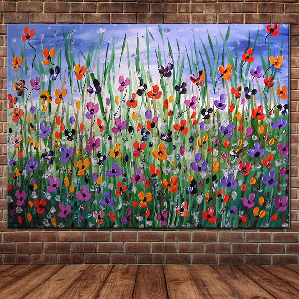 Hand Painted Thick Impasto Flower Field Landscape Canvas Oil Painting Flower Landscape Wall Picture Living Room