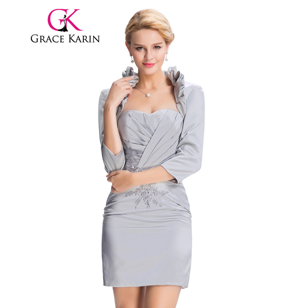 Grace Karin 2017 New Arrival Evening Dresses with Jacket Satin Sheath Elegant Grey Mother of the