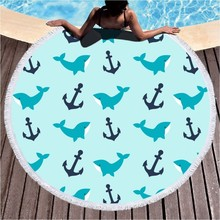 Large Round Beach Towel Anchor Dolphin Sailboat Tassel Microfiber Adult Kid Summer Quick Dry Sport Yoga Picnic
