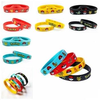 40pcs New Trendy Charms Game Wristband Pokemon Pikachu Silicone Bracelet Cartoon Bangles Kids Birthday Party Decoration Gift To 1