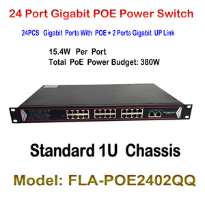 24 Ports Poe Switch + 2 Ports Gigabit Fast Ethernet Switch Network IP Cameras Powered PoE Adapter for Indoor IP CAM LAN Repeater