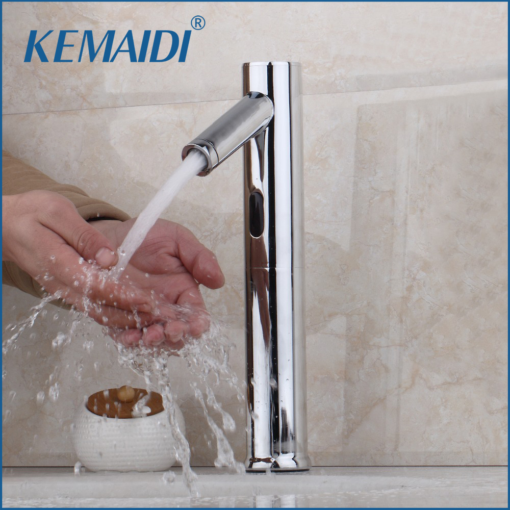 KEMAIDI Brass Bathroom Automatic Sensor Mixer Touch Free Sensor Faucets Deck Mounted Automatic Hands Tap Sink Faucet Basin new bathroom automatic hands touch free sensor basin chrome brass sink mixer tap faucets mixer auto sensor faucet sf 08