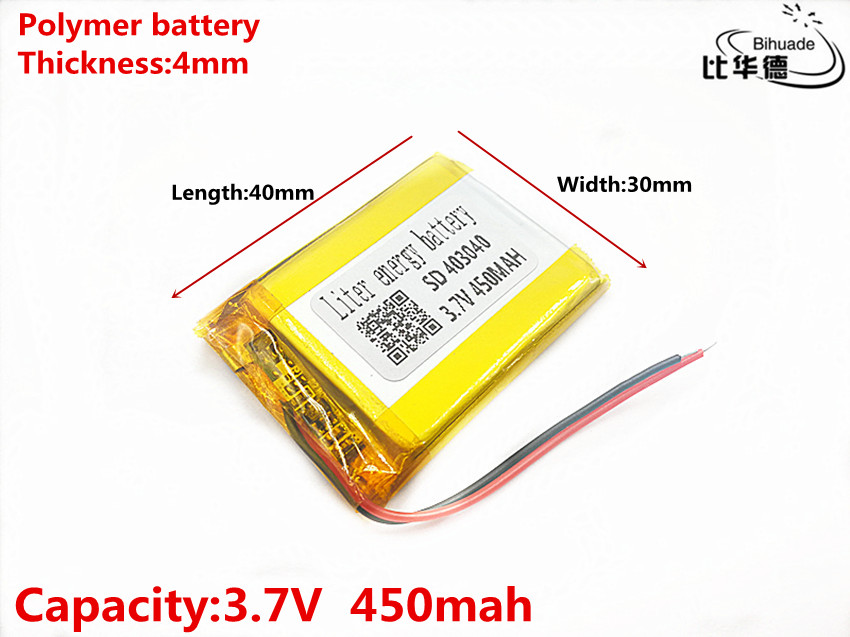 <font><b>403040</b></font> <font><b>3.7v</b></font> 450mAh li-ion Lipo cells Lithium Li-Po Polymer Rechargeable Battery For Tachograph Car Bluetooth speaker Camera image