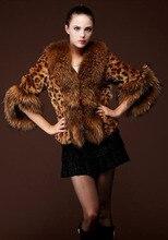 Женщины леопардовый лисий мех зима куртка свободного покроя искусственный мех три Quaters рукава тёплый куртка пиджаки одежда для дамы J166