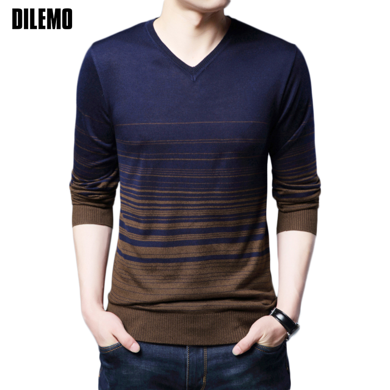 New Autumn Winter Fashion Brand Clothing Men Knitted Sweater V Neck Slim Fit Pullover Men Breathable Sweaters For Men