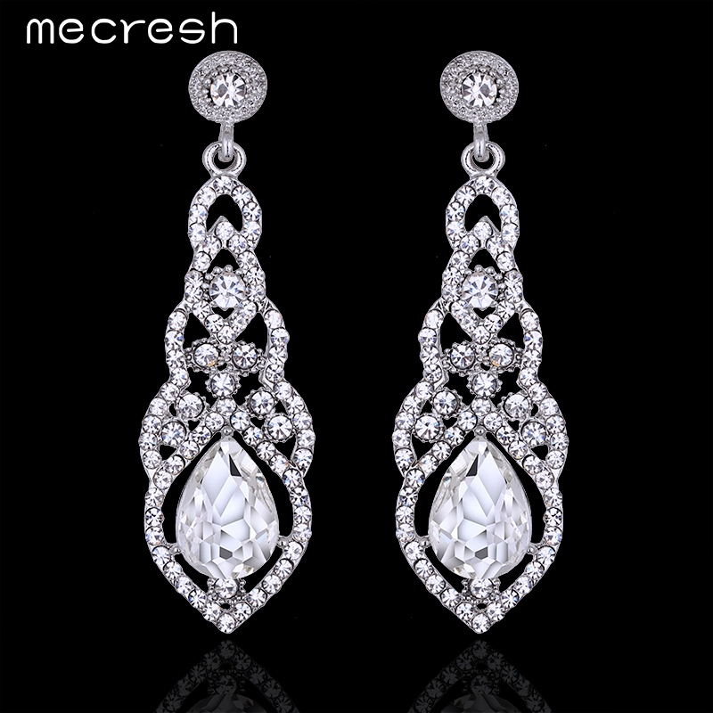 Mecresh Crystal Wedding Earrings for Women Silver Color Bridal Long Earrings Wedding Jewelry Accessories EH444