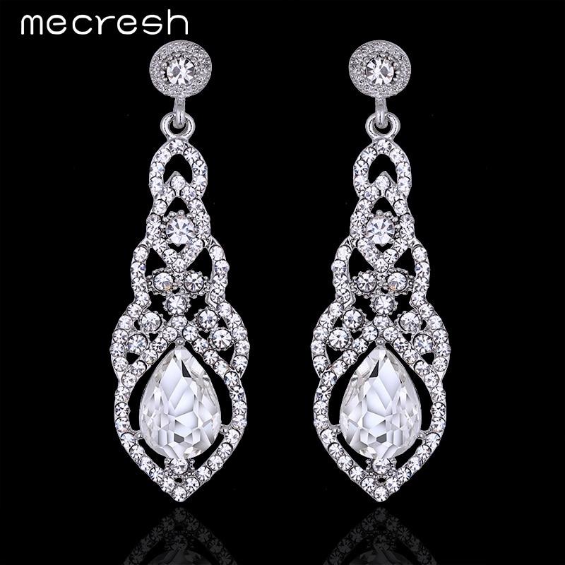 Mecresh Crystal Wedding Earrings for Women Silver Color Bridal Long Earrings Wedding Jewelry Accessories EH444