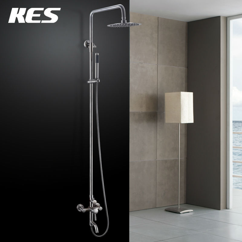 kes x6650b wall mount tub faucet with round hand shower and metal lever handles for shower system brush steel