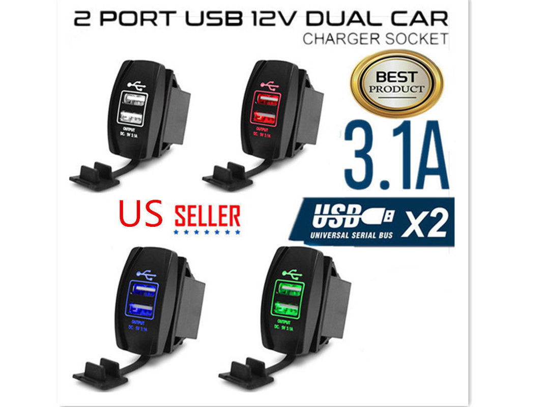 Socket Charger Usb-Port Motorcycle IPhone Waterproof 2 For Car-Safety 12V Outlet Mp3