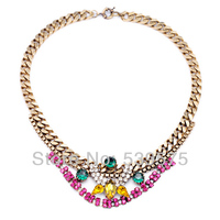 Shijie New Hot Sale Guardian Angel Alloy Women Choker Chunky Colorful Rhine Stone Necklace Jewelry