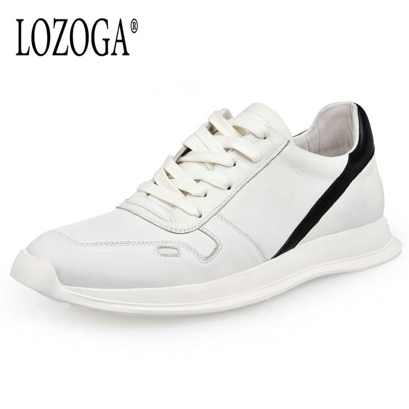 Lozoga European Fashion Men Casual Shoes Genuine Leather White Shoes New Design Shoes Comfortable Lace Up Sneakers Flat Shoes smile circle genuine leather sneakers women lace up flat shoes women comfortable air cushion sneakers 2018 casual shoes