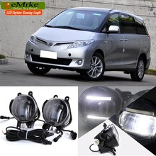 eeMrke For Toyota Previa 2006 + 2 in 1 Double Led Guiding DRL Fog Lights Lamp With Q5 Lens Daytime Running Lights