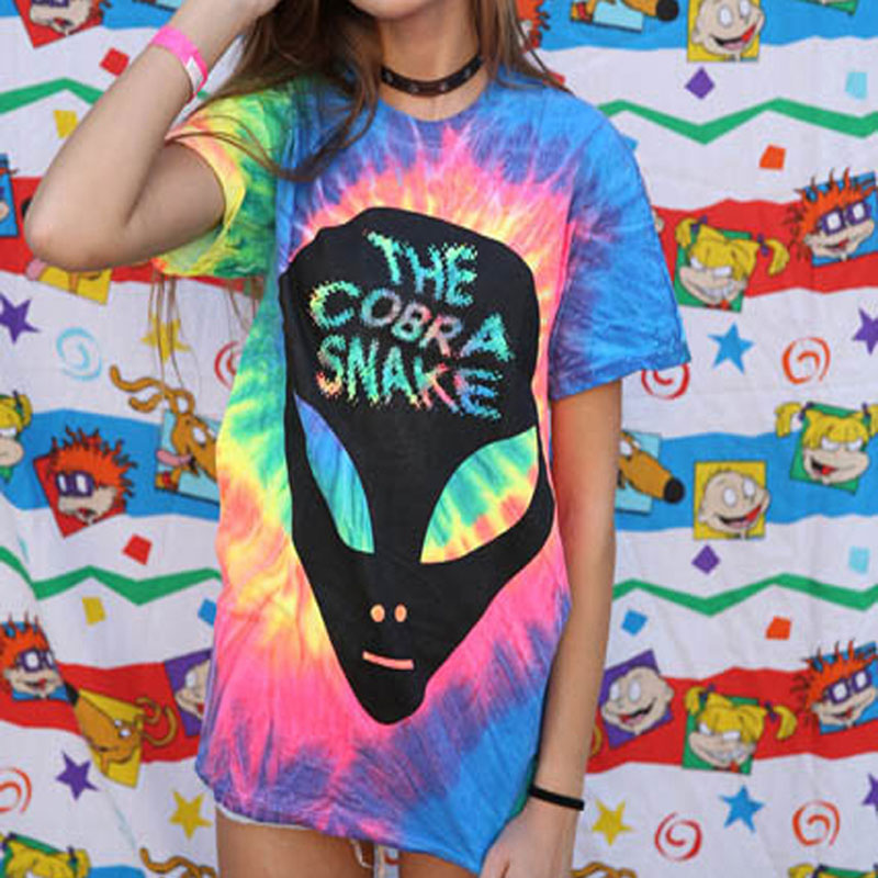 144fe71daac Harajuku Alien T shirts Women Tie Dye Gradient Emoji Tees Street Rainbow  Print Skeleton Female T shirt Cotton Tops SWB0291 45-in T-Shirts from  Women s ...