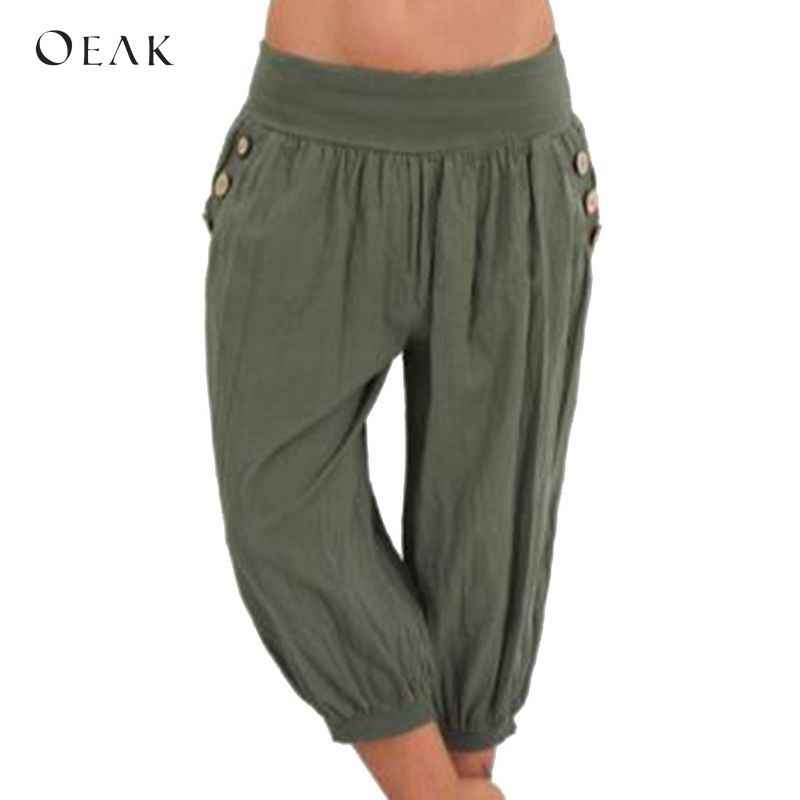 1353bb7e4188c OEAK Women 5XL Plus Size Loose Pants Buttons Casual Elastic Low Waist Harem  Pants Capris Female